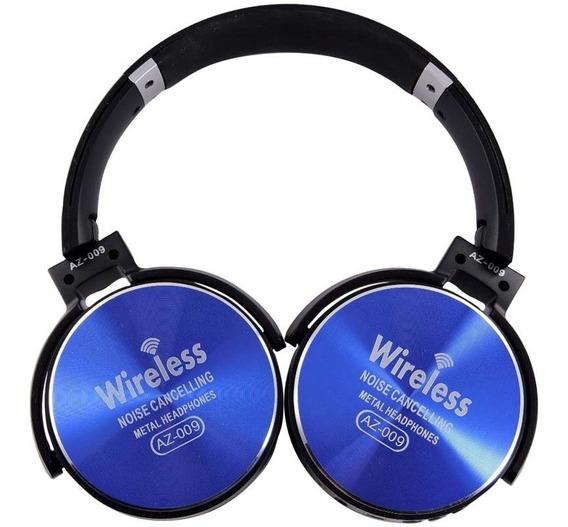 Headphone Sem Fio Bluetooth Com Microfone Az-009 Azul