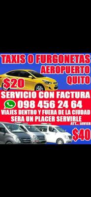 Taxis Y Furgonetas Aeropuerto Quito 24h. Con Factura