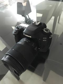 Cámara Canon 80d Con Lente 18-135mm, Tripie Y Mochila