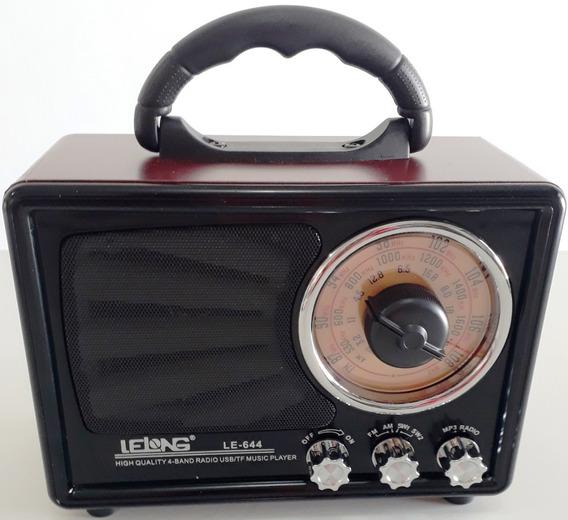 Rádio Portátil Analógico Caixa De Som Am Fm Sw Aux Mp3