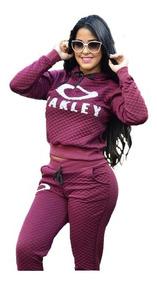 Conjunto Moletom Moleton Feminino Matelasse Com Capuz Oakley