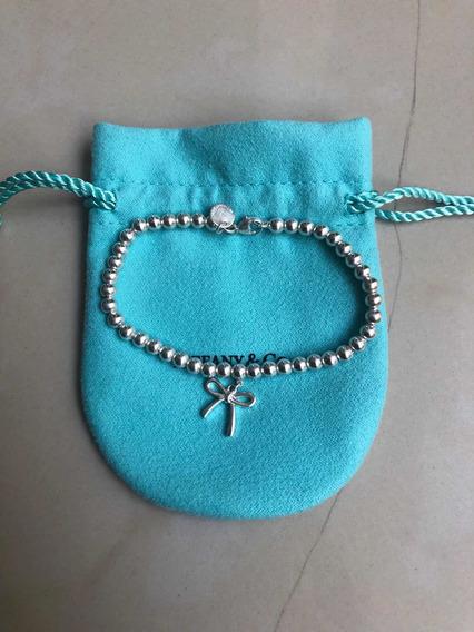 Pulsera Tiffan Moño Plata 925 Bead Bow Bracelet 17cm