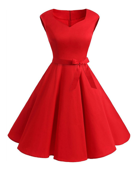 Vestido Estilo Vintage Con Escote Corazón Y Vuelo Acampanado