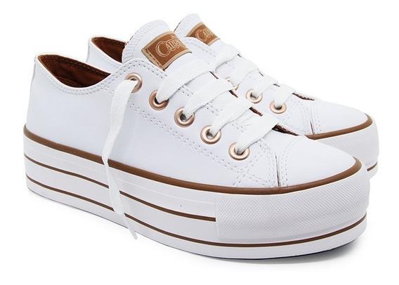 Tenis Feminino Casual Plataforma Capricho Branco/cobre