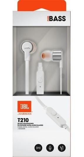 Fone De Ouvido Jbl Original T210 In Ear Microfone Prata Bran