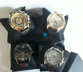 Kit Com 10 Relógios Masculino Pulseira Couro+caixas Atacado
