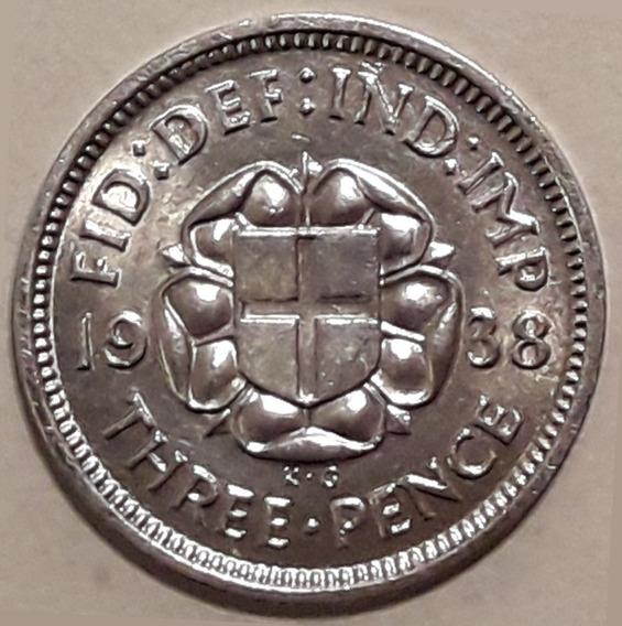 Inglaterra Moneda De Plata Del Año 1938 - 3 Pence - Xf