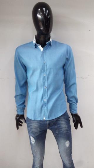 Linda Camisa Slim Fit En Tono Azul Con Cuello Blanco M/larga