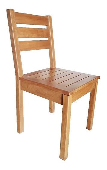 Cadeira De Madeira Maciça Pés Fixos Réguas Horizontais