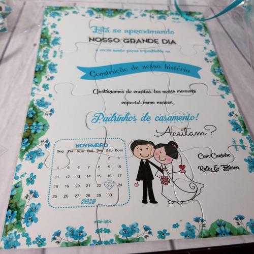 Imagem 1 de 3 de Convite Quebra Cabeças Padrinhos Azul Tiffany - 10 Unidades