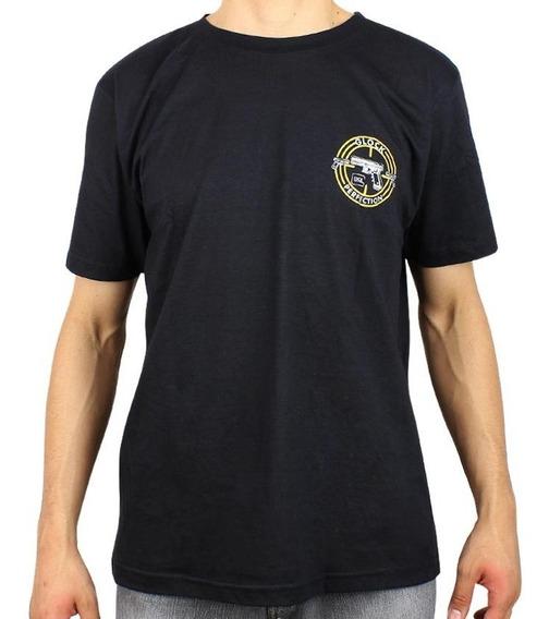 Camiseta Algodão Casual Treme Terra Glock Preta Tam P.