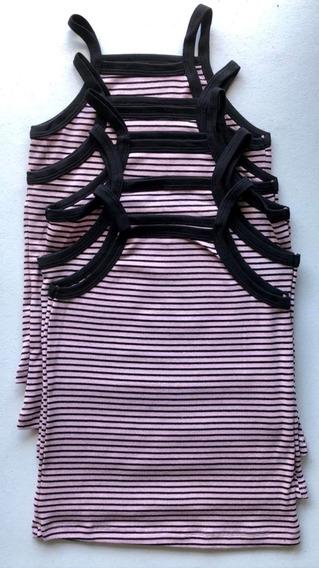 5 Peças Blusa Regata Listrada Infantil Adolescente Camiseta