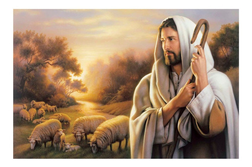 Jesus Buen Pastor 60x90 Lienzografía Cuadro Impresión Lienzo