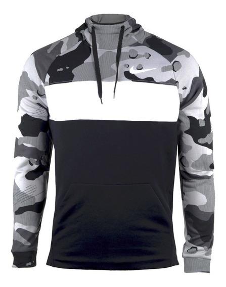 Sudadera Nike Fleece Camo Grey Hoodie Grey Dri-fit (xl)