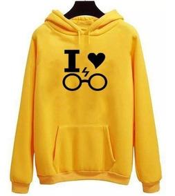 Blusa Canguru I Love Harry Potter Escola De Bruxaria E Magia