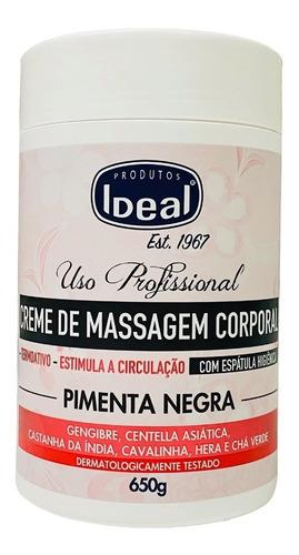 Imagem 1 de 4 de Ideal Creme De Massagem Corporal Pimenta Negra 650grs