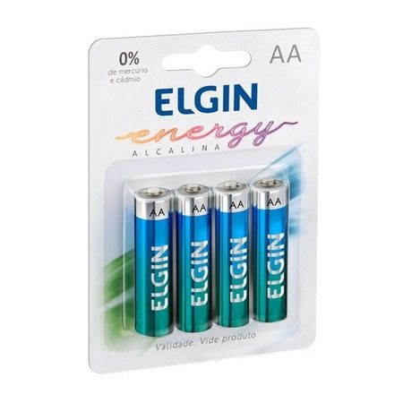 Pilha Alcalina Elgin Aa Lr6 - Blister Com 4 Unidades