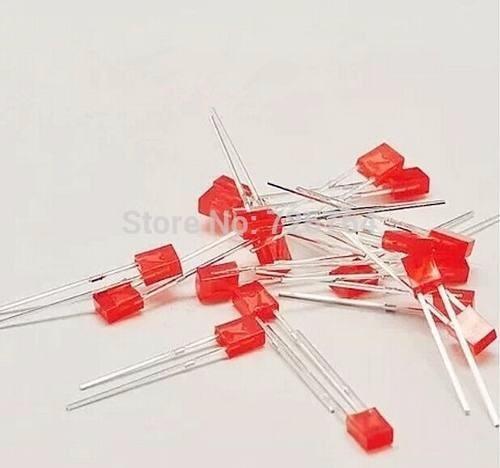 Lote 100 Diodo Led Vermelho Retangular 2x5x7 Frete Gratis