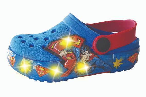 Sueco Goma Con Luz Led Superman Niños