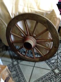 = Roda De Carroça Grande 77cm X 48cm Antiga Vintage Maciça