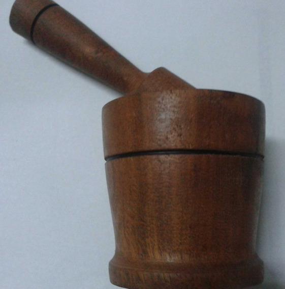 Mortero De Madera Algarrobo Mediano 9x9 Cm $lo