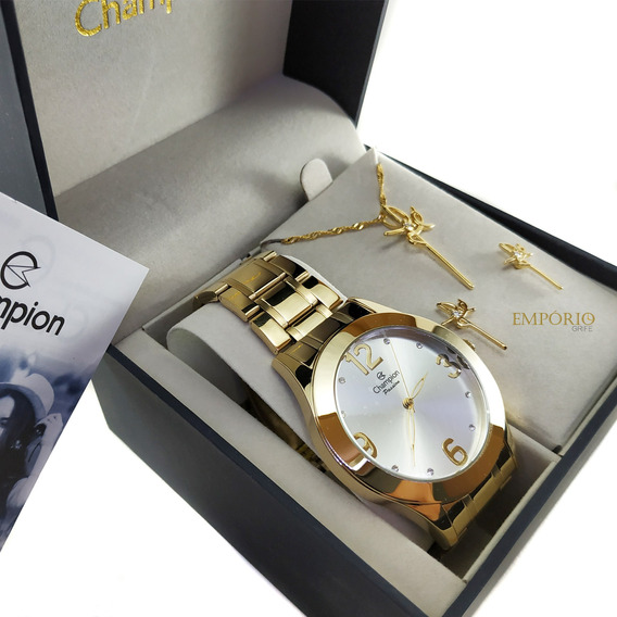 Relógio Champion Feminino Ch24268d + Kit Brinde Promocao