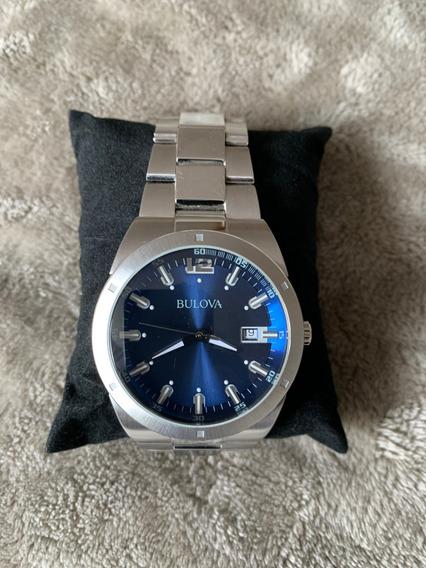 Relógio Bulova 96b220 Original, Visor Azul Com Data Perfeito