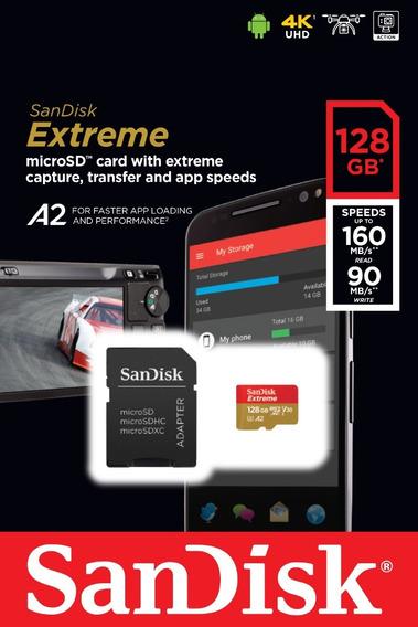 Micro Sd Sandisk Extreme U3 160mb/s 4k A2 128gb Lacrado