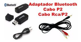 Receptor Áudio Bluetooth Carro Casa Usb P2 + Cabo Rca