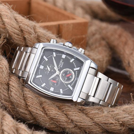 Relógio Masculino Longbo Quadrado Aço Inoxidável Modelo Z8s4