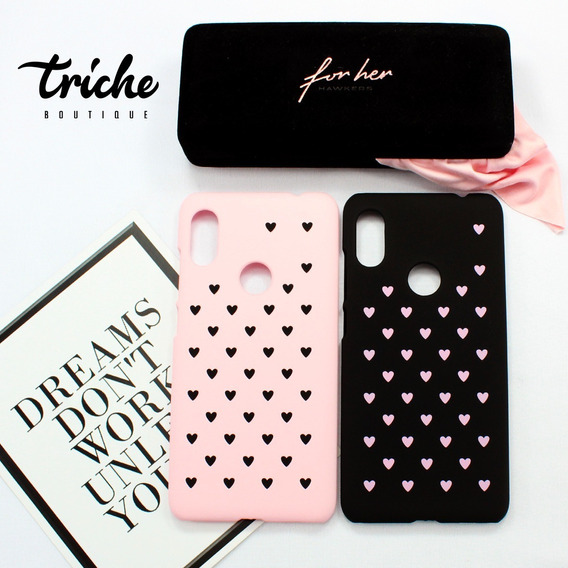 Funda Case Corazones Dama Negro Rosa Xiaomi Redmi Note 6 Pro