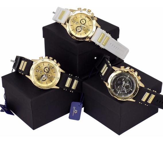 Kit 3 Relógios Masculino Dourado 100% Original + Caixa