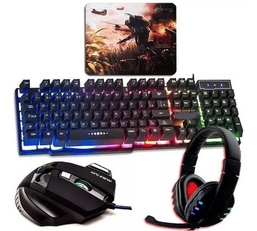 Kit Gamer Pc Barato Teclado Semi-mecânico + Mouse + Headset