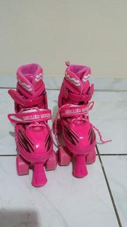 Patins Rosa Roller Skate 4 Rodas Usado Apenas 1 Vez
