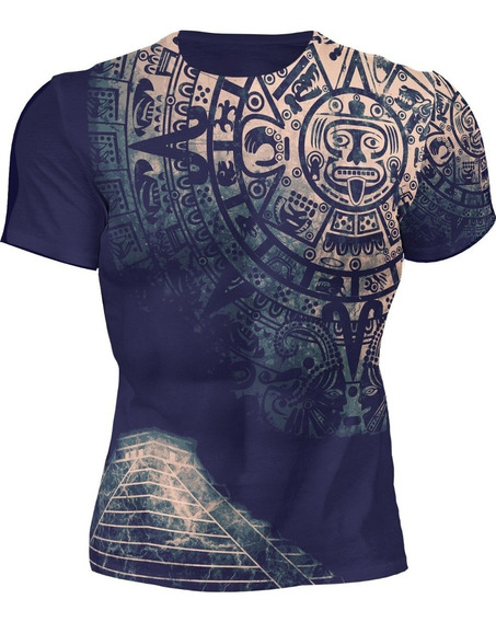 Playera Sublimada Full Print Calendario Pirámide Azteca