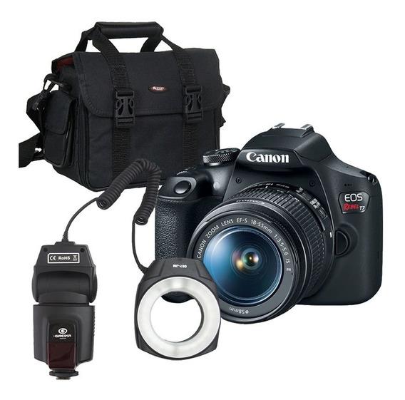 Canon T7 Câmera + Ring Flash Led Macro Ml-150 + Bolsa E Nf