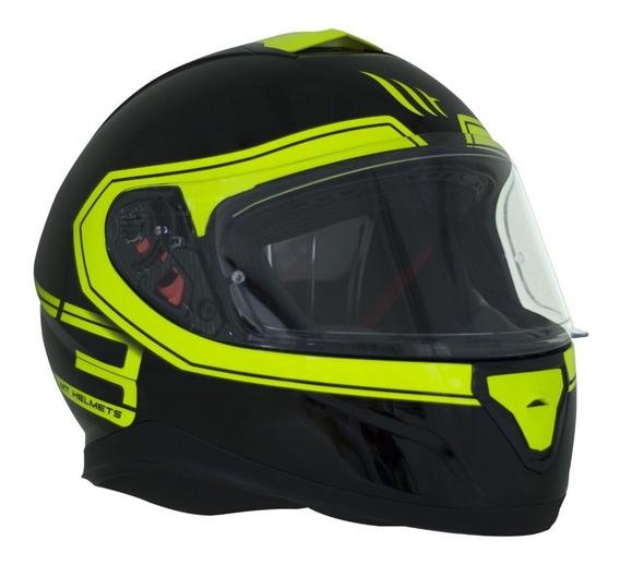 Capacete Mt Helmets Ff102sv Thunder 3 Sv Bg Preto E Amarelo