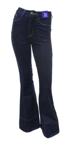 Calça Flare Jeans Feminina Com Cós Alto