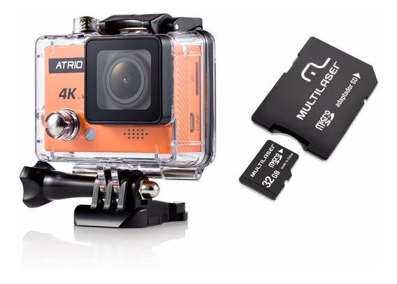 Câmera De Ação 64gb Fullsport 4k Atrio Dc185 Tela 2.0 Wifi