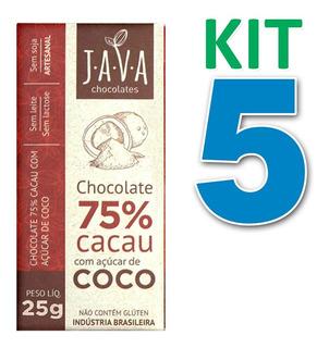 Kit 5 Chocolate 75% Cacau C/ Açúcar De Coco Vegano 25g Java