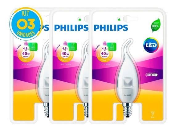 Lâmpada Led Vela E14 4.5w 2700k Ledcandle Philips Kit Com 03