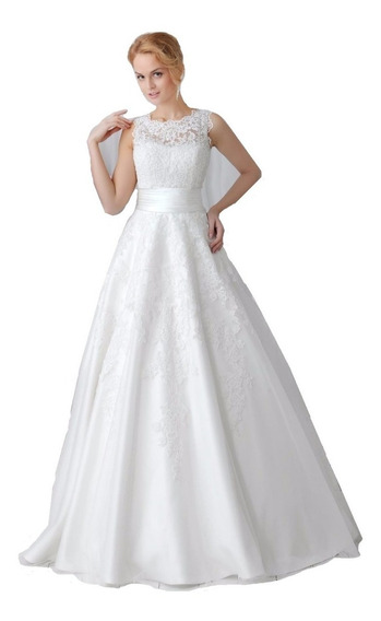 Nb08 Vestido De Noiva Barato Renda 2 Em 1 Saia Removível
