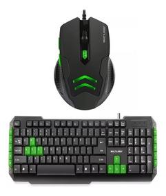 Kit Gamer Verde Mouse Laser 3200 Dpi Mo273 + Teclado Tc201
