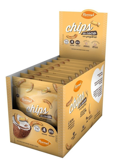 Chips De Coco Assado Com Gengibre Flormel Zero Glúten