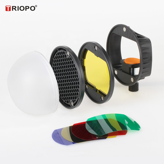 Triopo Speedlite Flash Light Modificador Acessórios Kit Com
