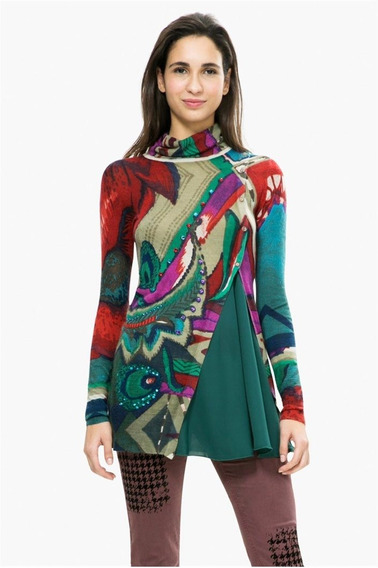 Suéter Desigual Rayas Colores Mujer Verde