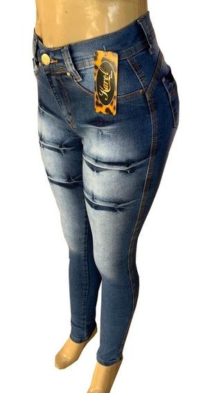 Calça Jeans Feminina Cintura Alta Com Lycra