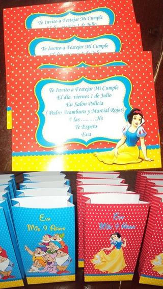 Tarjetas Invitaciones Blancanieves + Bolsitas