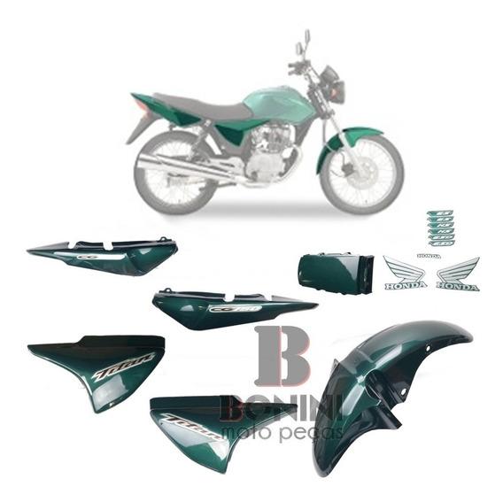 Kit Carenagem Cg 150 Es Titan 2005 Es 05 Verde Com Adesivo