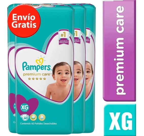 4 Paquete Pañales Pampers Premium Care 240 Unidades Talla Xg